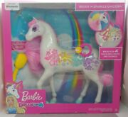 Mattel Barbie Dreamtopia Brush And039n Sparkle Unicorn W/lights And Sounds Gfh60