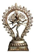 Indian Chola Style Brass Metal Silver Lord Shiva Nataraja Antique Large Heavy