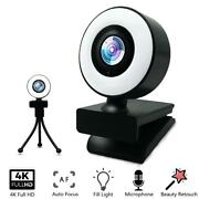 4k Hd Webcam Web Camera With Built In Mic And Adjustable Ring Light Autofocus