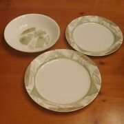 3 Pc Corelle Textured Leaves 8 12 Pasta Soup Bowl Dinner Plate 9 Luncheon