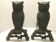 Vintage Standing Owls Andirons Fireplace Cast Iron Amber Glass Eyes ©9/1887