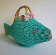 Vintage Wicker Animal Novelty Purse 1950s Fish With Lilly Pulitzer Lining