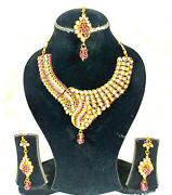 4pcs Purple Gold Choker Necklace Set Rhinestone Indian Party Clearance Sale Gift