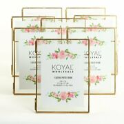 Photo Frame Set Of 8 5x7 Lot Wall Art Home Decor Gold Float Picture Glass Frames