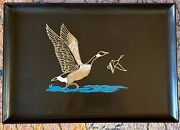 Vintage Couroc Of Monterey Mcm Tray Rare-geese Taking Flight, 18 X 12.5 In
