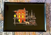 Vintage Couroc Of Monterey Mcm Tray Rare-neworleans Carriage, 18 X 12.5 In