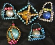 Lot 5 Antique Christmas Ornaments Mercury Glass Beads And Balls Purse Shaped ++