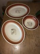 Vintage Susie Cooper Grey Feather Platters Serving Bowl Dinnerware Rare Pottery