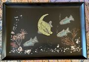 Vintage Couroc Of Monterey Mcm Tray - Tropical Fish Really Rare 15 X 10.5 In
