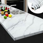Large Sizees Marble White Contact Paper Counter Top Covers Peel 30x118 Inch
