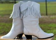 Vintage Oak Tree Farms Womenand039s Leather Fringe Boots