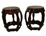 2 Antique Vintage Chinese Barrell End Tables Drum Stool Carved Rare