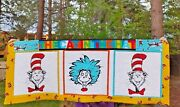 Handmade Quilted Table Dresser Runner Polka Dot Cat In The Hat Thing 1