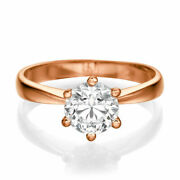 Round Cut Beauty Diamond Engagement Ring 14kt Rose Gold 1.00 Ct D/vs1
