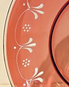 8 Victorian Cranberry Flashed To Clear Deep Plate Hand-painted Enamel Vgc
