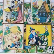 Vintage Rare 1960s Nursery Rhymes Folk Art Pictures Prints Approx 8x10 Set Of 10