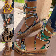 Women Lace Up Sandals Ankle Strap Platform Wedge Summer Casual Shoes Non-slip