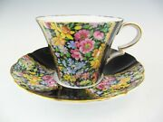 Royal Standard Fluted Cup And Saucer Floral Chintz And Black Panels 1854