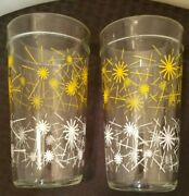 2 Vintage Mid Century Drinking Clear Glass Tumblers Yellow White