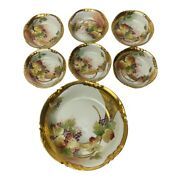 Rare 7 Piece 1906 Hand Painted Bowl Set Gold Leaves E.w. Donath Limoges France