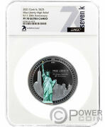 Miss Liberty Pf70 20th Anniv 9/11 By Ms 5 Oz Silver Coin 25 Cook Islands 2021
