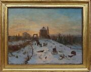 Painting Sordet Landscape Winter Swiss Romantic 19th Procession Cemetery