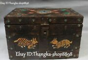 Chinese Ancient Brozne Painting Dragon Loong Bird Beast Jewelry Box Casket Boxes