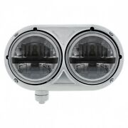 Stainless Dual Black Headlight With 8 High Power Led Bulb For Pete 359 - Driver