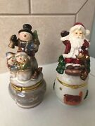 Santa Claus And Snowman Porcelain Trinket/pill Boxes Hinged Limoge Style