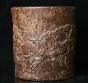 7.4 Old Chinese Rosewood Wood Carved Dynasty Animal Horse Brush Pot Pencil Vase