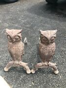 Vintage Early Cast Iron Fireplace Owl Andirons 18 Tall