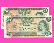 2 Of 1979 Issue Canada Uncirculated 20 Dollar Bank Notes S/n 56901330311 And 0312