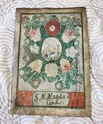 Antique Catholic Watercolor Painting Paper Relic Cross Skull Magdalena Devotion