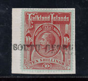 Falkland Islands 39 Sg 68 Very Fine Used On Piece With Certificate