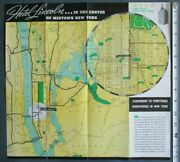 1937 Hotel Lincoln New York City Nyc Photo Brochure Map W/ Worlds Fair 14x15