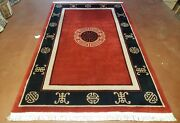 6x9 Red And Black Chinese Art Deco Rug Vintage Hand-knotted Wool Carpet 90 Lines