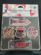 Minnesota Twins- Mlb Team Sign Ornaments 5 Pack- New In Package