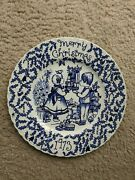 Vintage 1973 Merry Christmas Blue Plate-crownford China Co-norma Sherman-england