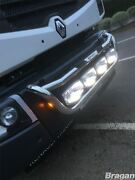 Grill Bar + Led Spots For Renault Lander Chrome Stainless Steel Front Lamps