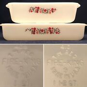 Fire King Primrose 2 Piece Open Baker Set Milk Glass Made In Usa 1 And 1.5 Quarts