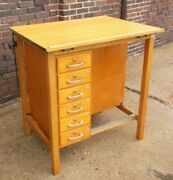 Vintage Hamilton Wood Drafting Table W/tilting Wood Top And Drawers