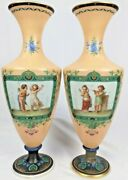 Large 18 Antique French Baccarat Opaline Glass Vases Hand Painted Cherubs Penet
