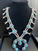 Vintage Sterling Silver Navajo Spider Web Turquoise Squash Blossom Necklace Sd