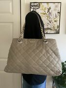 Kate Spade Gray Leather Coast Maryanne Quilted Tote Satchel Gold Chain Strap