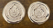 Two - 5 Oz. Silver Poured/stamped Button By Scottsdale Mint .999 Fineandnbspbullion