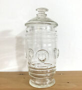 Antique Hand Blown Button Glass Apothecary Jar And Lid Candy Store Pharmacy