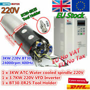 220v Atc Automatic Tool Change 3kw Water Cooled Spindle Bt30+ 3.7kw Vfd Inverter