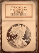 2001 W Proof American Silver Eagle - Ngc Pf69 Ultra Cameo
