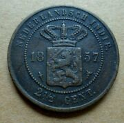 Netherland East Indies 1857 - 2 1/2 Cents Coin Km 308