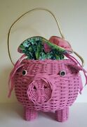 Vintage Wicker Animal Novelty Purse 1950s Pig With Lilly Pulitzer Lining